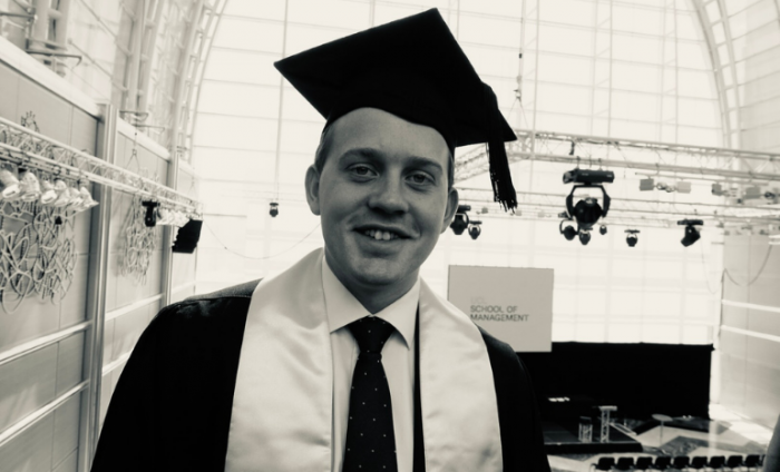Victor Rokkedal Dyrnes at his UCL School of Management graduation