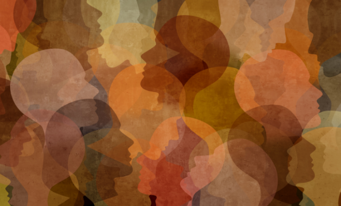 A range of different coloured and positioned silhouettes of heads