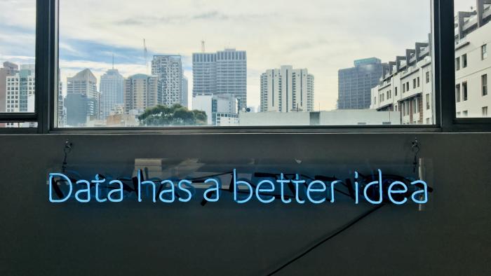 London skyline with the phrase 'data has a better idea'