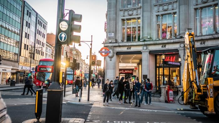 London's Oxford Street with shoppers in the daytime