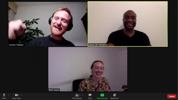 Lorenzo, Jib and Wren UCL MBA Circle founders on a Zoom call